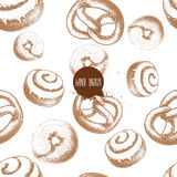 Seamless vector pattern with bakery goods. Bagels, german pretzels and iced cinnamon bun. Hand drawn sketch style. EPS10 + JPEG preview Royalty Free Stock Photography