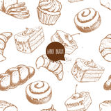 Seamless vector pattern with bakery goods. Bread, bun, iced cinnamon bun, cupcake, cake and croissant. Royalty Free Stock Images
