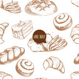 Seamless vector pattern with bakery goods.  Stock Photo