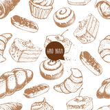 Seamless vector pattern with bakery goods.  Royalty Free Stock Image