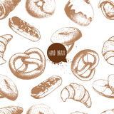 Seamless vector pattern with bakery goods.   Stock Photos