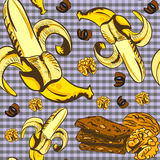 Seamless vector pattern with bananas and chocolate. Seamless vector pattern with bananas, chocolate, nuts, walnuts Royalty Free Stock Photo