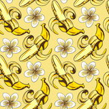 Seamless vector pattern with bananas. And flowers Stock Photo