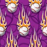 Seamless vector pattern with baseball softball ball icon and flame. Baseball softball ball seamless pattern with hotrod flame. Printable vector illustration Royalty Free Stock Photos