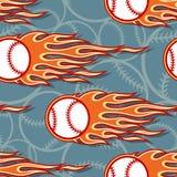 Seamless vector pattern with baseball softball ball icon and flame. Baseball softball ball seamless pattern with hotrod flame. Printable vector illustration Royalty Free Stock Image