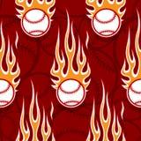 Seamless vector pattern with baseball softball ball icon and flame. Baseball softball balls printable seamless pattern with hotrod flames. Vector illustration Stock Photos