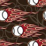 Seamless vector pattern with baseball softball ball icon and flame. Baseball softball balls printable seamless pattern with hotrod flames. Vector illustration Royalty Free Stock Images