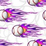 Seamless vector pattern with baseball softball ball icon and flame. Baseball softball balls printable seamless pattern with hotrod flames. Vector illustration Stock Images