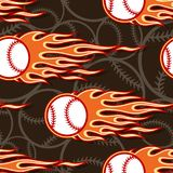 Seamless vector pattern with baseball softball ball icon and flame. Printable seamless pattern with baseball softball ball and hotrod flame. Vector illustration Royalty Free Stock Images