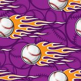 Seamless vector pattern with baseball softball ball icon and flame. Printable seamless pattern with baseball softball ball and hotrod flame. Vector illustration Royalty Free Stock Image