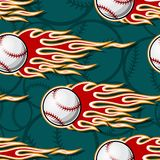 Seamless vector pattern with baseball softball ball icon and flame. Printable seamless pattern with baseball softball ball and hotrod flame. Vector illustration Royalty Free Stock Photography