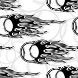 Seamless vector pattern with baseball softball ball icon and flame. Printable seamless pattern with baseball softball ball and hotrod flame. Vector illustration Stock Photos