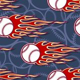 Seamless vector pattern with baseball softball ball icon and flame. Printable seamless pattern with baseball softball ball and hotrod flame. Vector illustration Stock Images