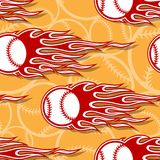 Seamless vector pattern with baseball softball ball icon and flame. Seamless pattern with baseball softball ball symbol and hot rod flame. Vector illustration Royalty Free Stock Images
