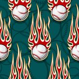Seamless vector pattern with baseball softball ball icon and flame. Seamless printable pattern with baseball softball balls and hot rod flames. Vector Royalty Free Stock Photo