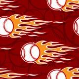 Seamless vector pattern with baseball softball ball icon and flame. Seamless printable pattern with baseball softball balls and hot rod flames. Vector Stock Photo