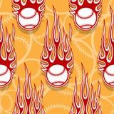 Seamless vector pattern with baseball softball ball icon and flame. Seamless pattern with baseball softball ball symbol and hot rod flame. Vector illustration Royalty Free Stock Photos