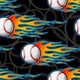 Seamless vector pattern with baseball softball ball icon and flame. Seamless pattern with baseball softball ball symbol and hot rod flame. Vector illustration Royalty Free Stock Image