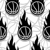 Seamless vector pattern with basketball ball and classic flames. Seamless pattern with basketball ball and classic flames. Vector illustration. Ideal for royalty free illustration