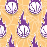 Seamless vector pattern with basketball ball and classic flames. Seamless pattern with burning basketball ball. Vector illustration. Ideal for wrapping Royalty Free Stock Photography