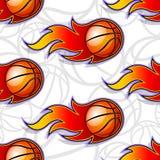 Seamless vector pattern with basketball ball icons and flames. Seamless pattern with basketball ball icons and flames. Vector illustration. Ideal for wallpaper vector illustration