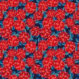 Seamless vector pattern with beautiful red flowers and blue laves on dark blue background stock illustration