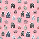 Seamless pattern with beautiful snowing houses on the pin stock illustration