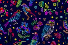 Vintage scarf with embroidered fantasy garden inspired by folk art. Stock Photo