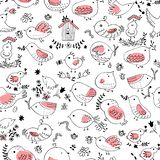 Seamless vector pattern of birds.Collection of cute hand drawn bird Doodle. Black on white vector set. Easter design royalty free illustration