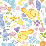 Seamless vector pattern with birds, flowers and feathers Royalty Free Stock Photos