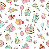 Seamless vector pattern for birthdays, anniversaries, parties. Stock Images