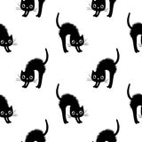 Seamless vector pattern with black cats Royalty Free Stock Image