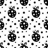 Seamless vector pattern with black decorative ornamental cute strawberries and dots on the white background. Repeating tiled ornam Stock Photo