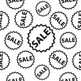 Seamless vector pattern with black sale signs. Royalty Free Stock Photo