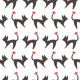 Seamless vector pattern, black and white background with cats, black silhouette with red bows over white backdrop Royalty Free Stock Photography