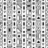 Seamless vector pattern, black and white background with different hand drawn symbols, decorative doodle squares. Symmetrical cute. Ornament for decoration royalty free illustration