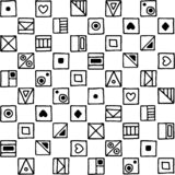 Seamless vector pattern, black and white background with different hand drawn symbols, decorative doodle squares. Symmetrical cute. Ornament for decoration vector illustration