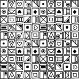 Seamless vector pattern, black and white background with different hand drawn symbols, decorative doodle squares. Symmetrical cute. Ornament for decoration stock illustration