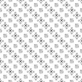 Seamless vector pattern. Black and white geometrical background with hand drawn circles, cross and squares Stock Photos