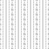Seamless vector pattern. Black and white geometrical background with hand drawn circles, lines and squares. Simple design. Series of Hand Drawn Simple Royalty Free Stock Photography