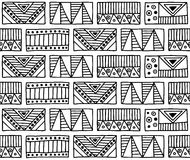 Seamless vector pattern. Black and white geometrical background with hand drawn decorative tribal elements. Print with ethnic, fol Royalty Free Stock Image