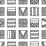 Seamless vector pattern. Black and white geometrical background with hand drawn decorative tribal elements. Print with ethnic, fol Stock Photography