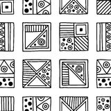 Seamless vector pattern. Black and white geometrical background with hand drawn decorative tribal elements. Print with ethnic, fol Royalty Free Stock Photos