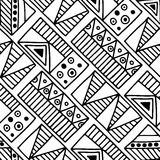 Seamless vector pattern. Black and white geometrical background with hand drawn decorative tribal elements. Print with ethnic, fol Stock Image
