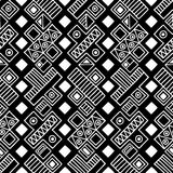 Seamless vector pattern. Black and white geometrical background with hand drawn decorative tribal elements. Print with ethnic, fol Royalty Free Stock Images