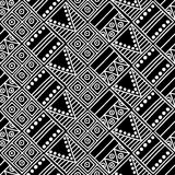 Seamless vector pattern. Black and white geometrical background with hand drawn decorative tribal elements. Print with ethnic, fol Stock Photos