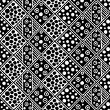 Seamless vector pattern. Black and white geometrical background with hand drawn decorative tribal elements. Print with ethnic, fol Royalty Free Stock Photo