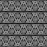 Seamless vector pattern. Black and white geometrical background with hand drawn decorative tribal elements. Print with ethnic, fol vector illustration