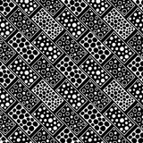Seamless vector pattern. Black and white geometrical background with hand drawn decorative tribal elements. Print with ethnic, fol. K, traditional motifs Stock Photography