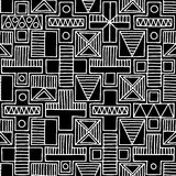 Seamless vector pattern. Black and white geometrical background with hand drawn decorative tribal elements. Print with ethnic stock illustration